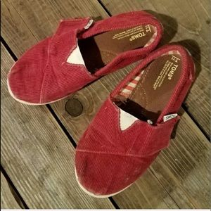 4/$25 TOMS Red Corduroy Shoes size 11T